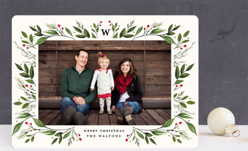 Holiday Framed Floral Family Photo Christmas Card