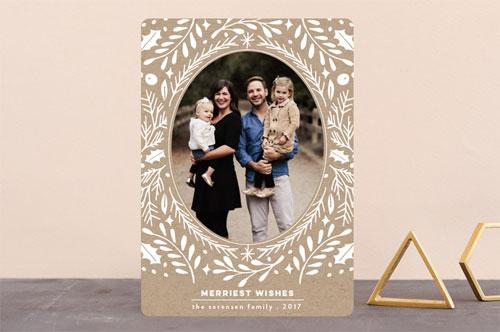 Blanc Noel Floral Christmas Card