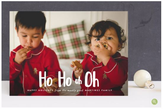 Ho Ho Uh Oh Santa Photo Christmas Card